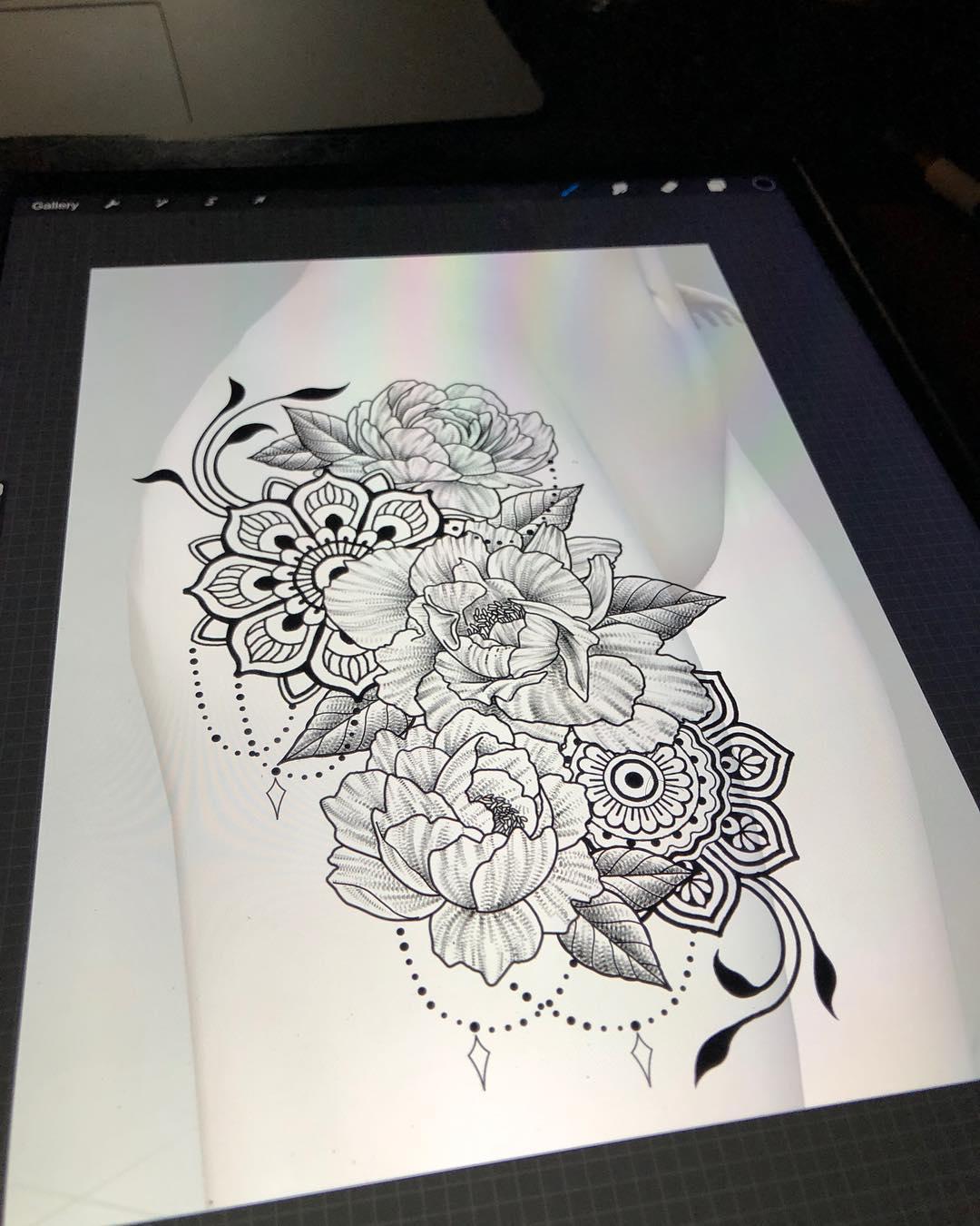 做培训老师的支小姐梵花牡丹纹身手稿